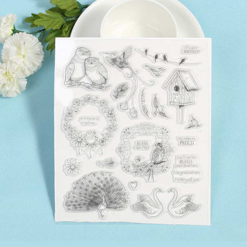 1PC Swan Peacock Transparent Stamps Art Marker Silicone Rubber Clear Sheet  Scrapbooking Crafts School Stationery Office Supplies