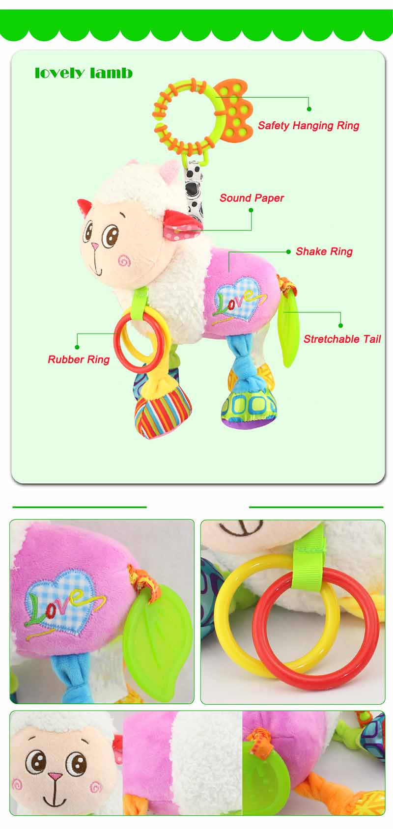 35*22CM Musical Cute Rattles Bed Crib Stroller Kids Stuffed Doll Vibrator Dog Hand Bell Shake RingToy With Teether D012 16