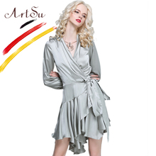 ArtSu 2017 Dresses Robe Long Sleeve V-Neck Satin Dress Women Autumn Irregular Ruffles Vestidos Club Party Dress Jurken ASDR20341(China)