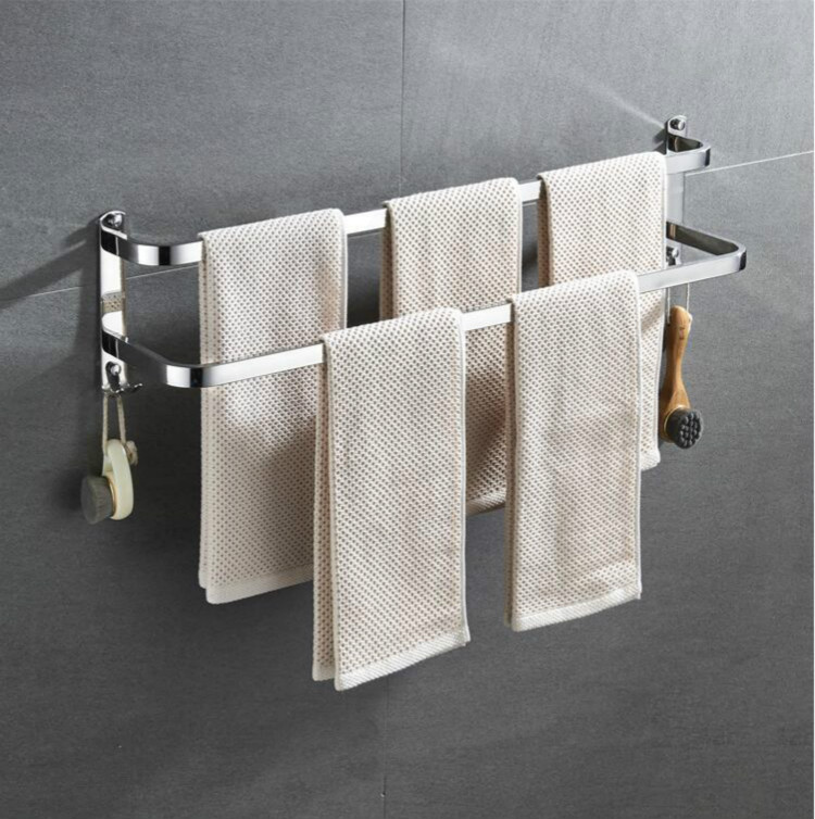 USA Alumimum Bathroom Home Towel Double Bar Rail Rack Holder Storage Rack Shelf