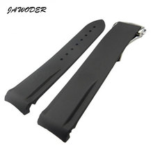 JAWODER Watch band 22mm Black Diving Silicone Rubber Watch strap Silver Deployment buckle for Marine universe hippocampus