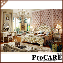 European Furniture Leather Double Bed /Princess Bed Bedroom Furniture PRF072