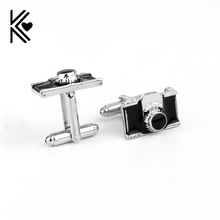New Design Mini Camera Cufflinks Alloy Material Men Accessaries Black Enamel Men Women Gift for Photographer Free Shipping(China)