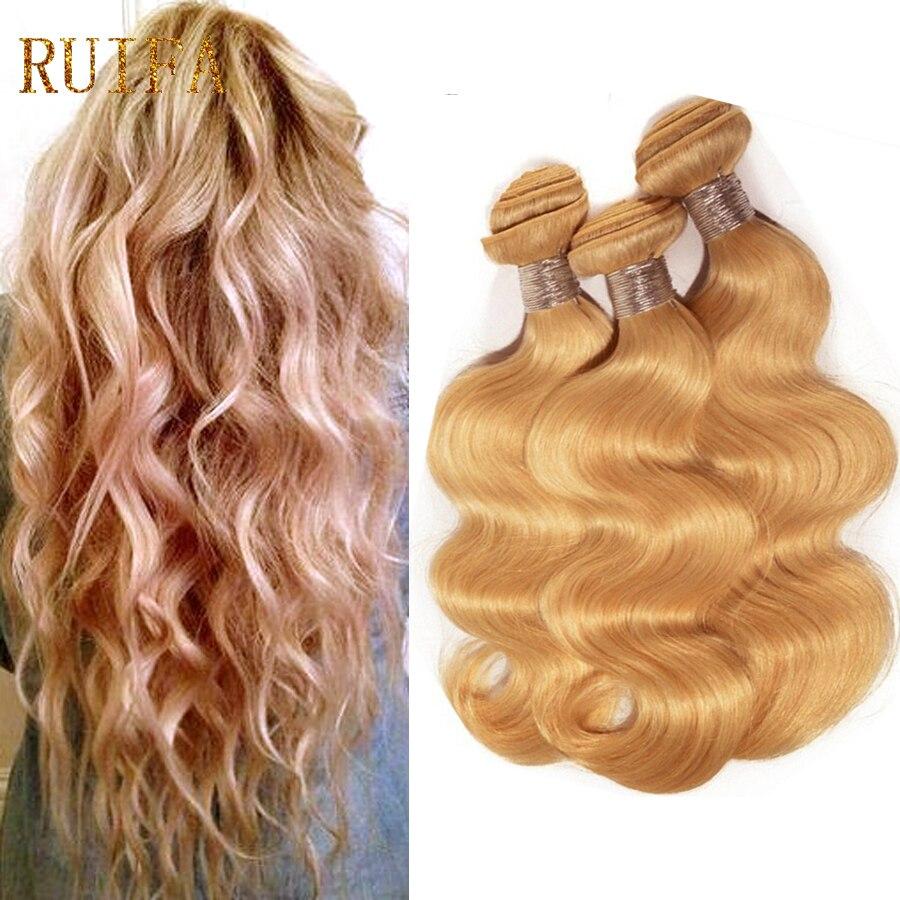 Ruifa Blonde Brazilian Hair Body Wave 3 Bundles 27# Honey Blonde Virgin Hair  Grade 8A Golden Blonde Wavy Human Hair Extensions<br><br>Aliexpress