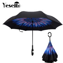 Drop Shipping Windproof Reverse Folding Double Layer Inverted Chuva Umbrella Self Stand Rain Protection C-Hook Hands For Car(China)