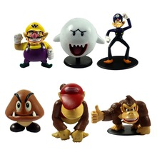 6pcs Lot Super Mario Bros Donkey Kong DK Wario Goomba Mini Action Figure Loose Free Shipping(China)