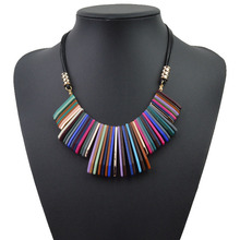CINDY XIANG 2 Colors Available Colorful Resin Tassels Necklaces Pendants Leather Chain Bohemia Necklace For Women Fine Jewelry