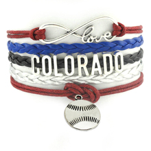 Colorado hockey Infinity Love Silver Charms Baseball Sports Team Bracelet wristband Customize friendship Bracelets bracelet