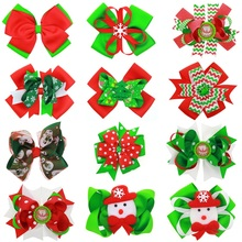 Naturalwell Christmas Green Chevron Tuxedo Bow Hairbow Big Ribbon Bow Girls Barrette Bow Baby Oversized Bow Child gift BB052