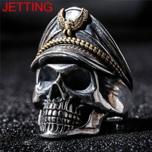 JETTING 1Pc Retro Officer Finger Rings World War II General Skull Honor Anniversary Ring