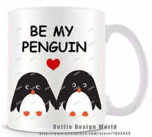 Be My Penguin funny novelty travel mug 11QZ Ceramic white coffee tea milk mug cup personalized Birthday Easter Valentines gifts(China)