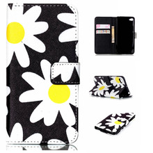 Yellow/White Sun Flower Design Stand Wallet Flip Bag Pouch Cover Case For Lenovo S90 S90U Leather Holder Phone Coque Fundas Capa(China)