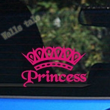 cute Hot Pink Princess Crown car Decal Sticker ,Elegant lady girls car stickers FREE SHIPPING,s2013(China)