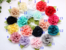 "2.3"" new coming chiffon flower with green leaf for DIY hair acessory headbands 18color flat back"