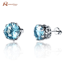 925 Sterling Silver Stud Earrings Fashion bijoux Vintage Punk Red Blue Rhinestone Crystal Earring for Women Wedding Love Jewelry(China)