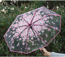 Transparent Full Automatic Paraguas Japanese Cherry Blossom Umbrella Rian Women Ultra-light Folding Style Rain Gear Men CS0300(China)