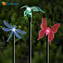 Lumiparty Color Changing Solar Stake Light Solar LED Butterfly Dragonfly Hummingbird Stake Mixed Light for Garden Decorations