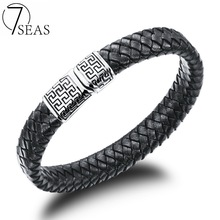 7SEAS Handmade Weaved Leather Bracelets For Men High Polished Stailess Steel Magnetic Clasp Bangles 3 Sizes Jewelry Gift 7S938