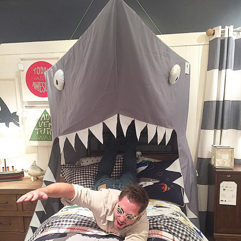 2018 Shark Canopy Kids Bed Net children room decoration baby room decor children bed door type cotton animal pattern A983