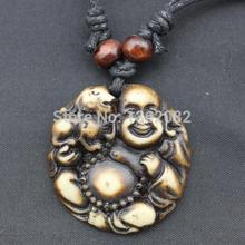 Charming Imitation Yak Bone Carved Amulet Brave troops Maitreya Buddha Pendants Necklace Wood Beads Lucky Cord MN204
