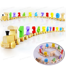 Children Toddlers Digital Small Wooden Train 0-9 Number Figures Railway Model Wood Kids Educational Toys Gift (1 Set)(12 Pcs)