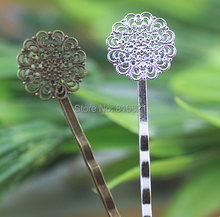 15mm Blank Bobby Pins Base Settings Filigree Hollow Circle Flower Pads Hair Clip Hairpins Crafts Findings Silver/ bronze tone