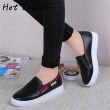 2016 Top  Spring Autumn Women PU Shoes For Woman Breathable Cloth Loafers Fashion Brand shoes slip on Loafer Casual Shoes 4color