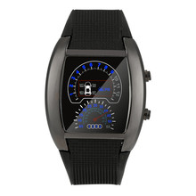 Free Dropping Wholesale relojes hombre 2017Fashion Aviation Turbo Dial Flash LED Watch Gift Mens Lady Sports Car Meter  au3