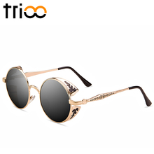 Shades Luxury vintage Steampunk Circle Sunglasses Polaroid Lunette(China)