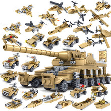16 in 1 Tank Airplane MilitaryMissile Car Truck Submarine Hovecraft Spy Plane Boat Armored Blocks Educational Boy Girl Xmas Gift