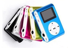 Metal clip mp3 player +Earphone+UBS cable with LCD screen display support 16GB TF card 20pcs per lot Fedex Free.