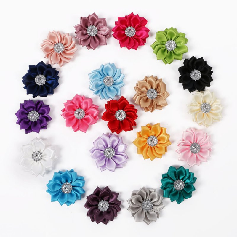 Hairwear Satin Flower WITHOUT Clip Fabric Flower With Rhinestone For Baby Girls Headbands Appliques 20 PCS/SET New<br><br>Aliexpress