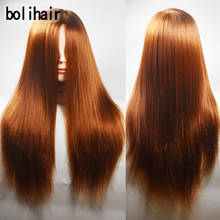 Free Shipping Mannequin Hairdressing Training Head 100% High Temperature Fiber More Thicker 65CM Synthetic Hair Mannequin Head(China)