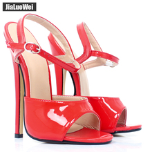 Buy Jialuowei 7inch high heel Unisex sandals Sexy Fetish Ankle Strap high-heeled shoes summer women sandals fashion party prom shoes