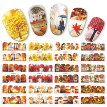 12pcs/set Autumn Style Yellow Red Maple Leaf Labels Sticker Water Transfer Nail Art Stickers Nails Decals  JIBN405-516