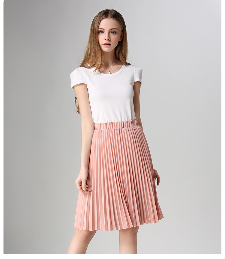 Pleated Skirt Spring/Autumn 2017 European Style Elegant Tulle Pleated Skirt Blue Chiffon Skirt Women's Vintage Pink Midi Skirt 7