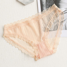 Buy QA092 Thin mesh breathable lace hollow women sexy transparent panties girls low waist briefs culotte femme