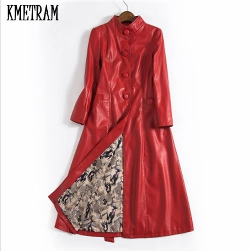 KMETRAM 2019 Fashion New Style Slim Long Red Leather Jacket For Women Elegant Temperament Warm Chaquetas Invierno Mujer HH997