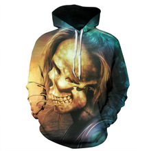 3D Printed Skull with Hairs Design Hoodie Sweatshirts Casual Men/Women Polyester/Cotton Autumn Tracksuits Fitness Sporting Hoody