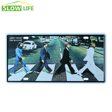 Abbey Road The Beatles Car License Plate Vintage Home Decor Tin Sign Bar Pub Cafe Wall Decor Metal Sign Metal Art Poster Plaque