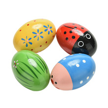 Children Wooden Sand Eggs Instruments Percussion Musical Toys Colors Random(China)