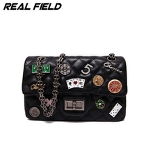 Real Field RF Women Messenger Bags PU New Fashion Ladies Crossbody Polyester Girls Chain Shoulder Handbags Sewing Bolsas 284