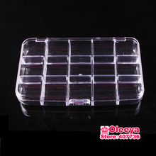 2pcs/lot 15 Grid Transparent Plastic Jewelry Boxes Acrylic Cosmetic Case Nail Art Pill Box Portable Storage Container Y2662
