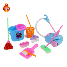 9 PCS/Set Dolls Accessories High-grade Furniture Cleaning Kit Home Furnishing Household Cleaning Tools for Dolls Girls Toys(China)