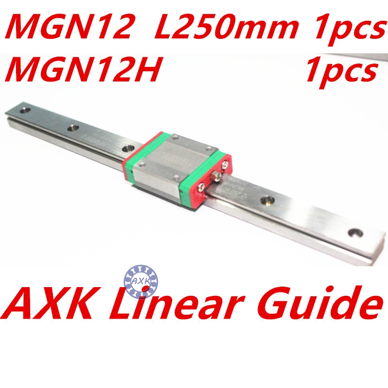 12mm linear guide MGN12 L 250mm linear rail with 1pcs MGN12H linear carriages block for CNC DIY and 3D printer XYZ cnc<br>