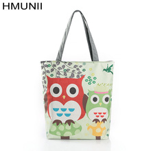 Owl cartoon prints portable shopping bag canvas large capacity Reusable shopping bags  Lady Beach Pouch Promotions free delivery