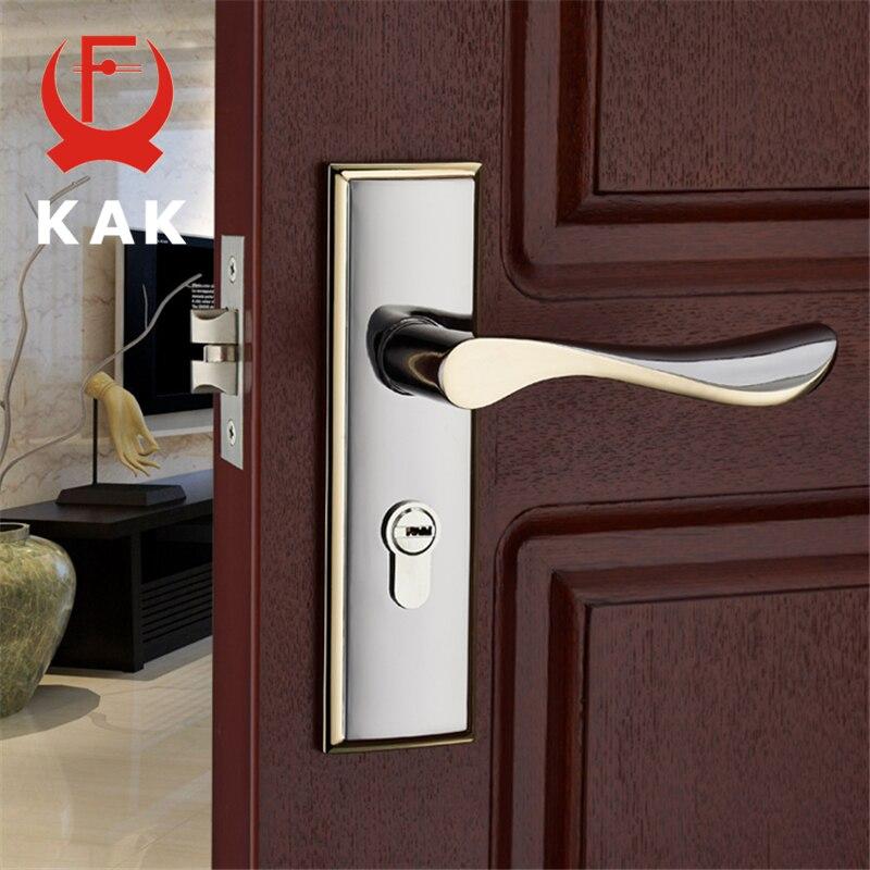 Kak Modern Mute Room Door Lock Handle Fashion Interior Door Knobs