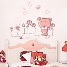 cute pink cartoon animal love bear flower baby children bedroom room decor wall stickers kids nursery decal sticker girl gift(China)