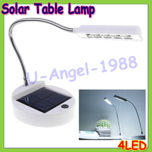 Wholesale 1pcs Plastic 4 LEDs Table Lamp White Light LED Solar Charging Rechargeable Battery Desk Lamp with adapter