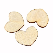 100pcs/Set Wood Heart Love Blank Unfinished Natural Crafts Supplies Wedding Party Ornaments DIY Craft  Decoration Accessories